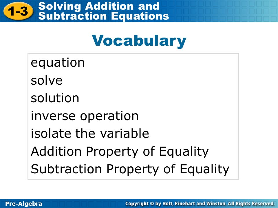 Vocabulary equation solve solution inverse operation
