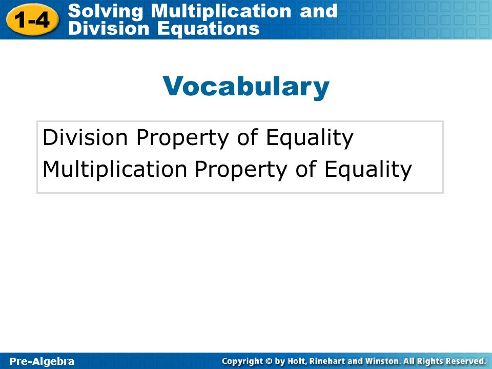 Vocabulary Division Property of Equality