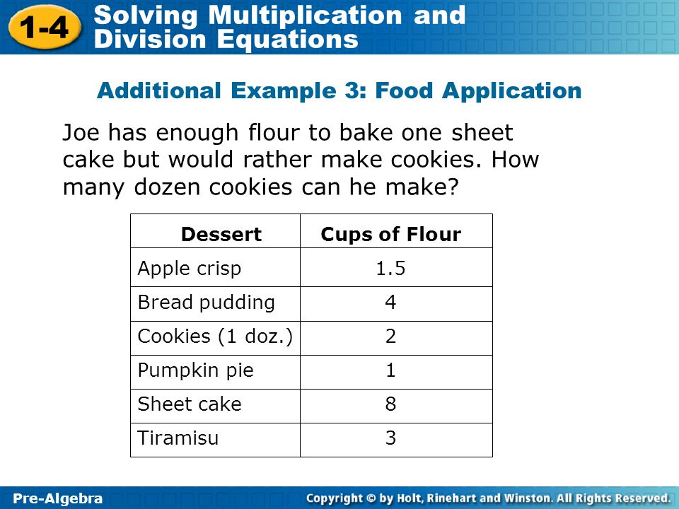 Additional Example 3: Food Application