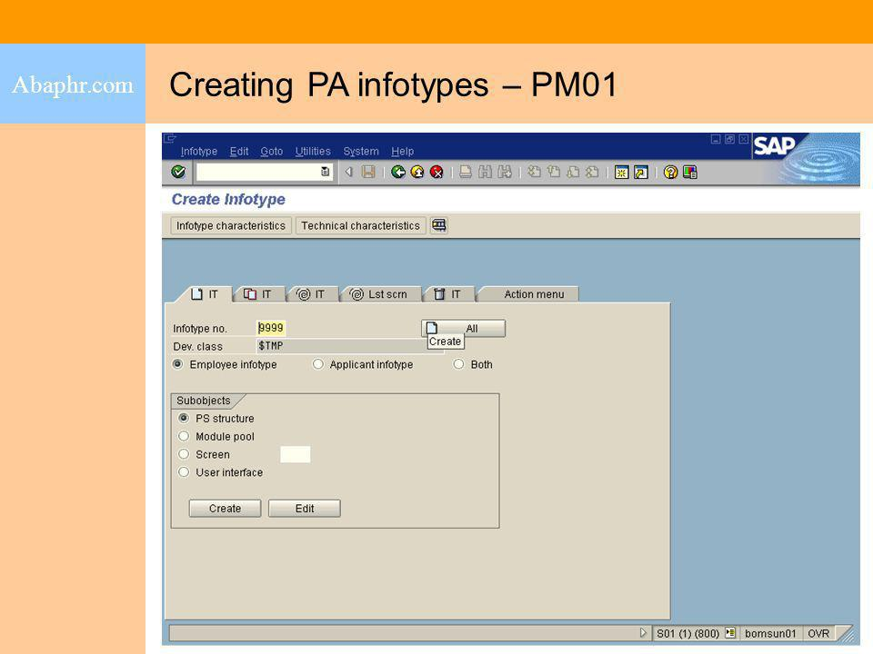 Creating PA infotypes – PM01