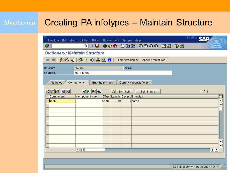 Creating PA infotypes – Maintain Structure