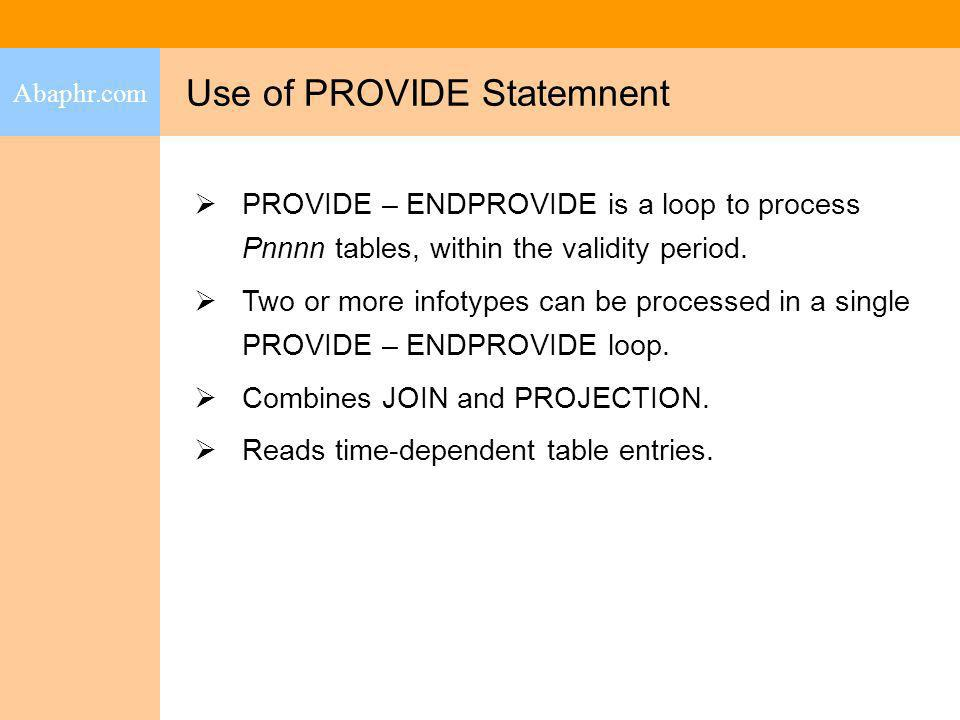 Use of PROVIDE Statemnent