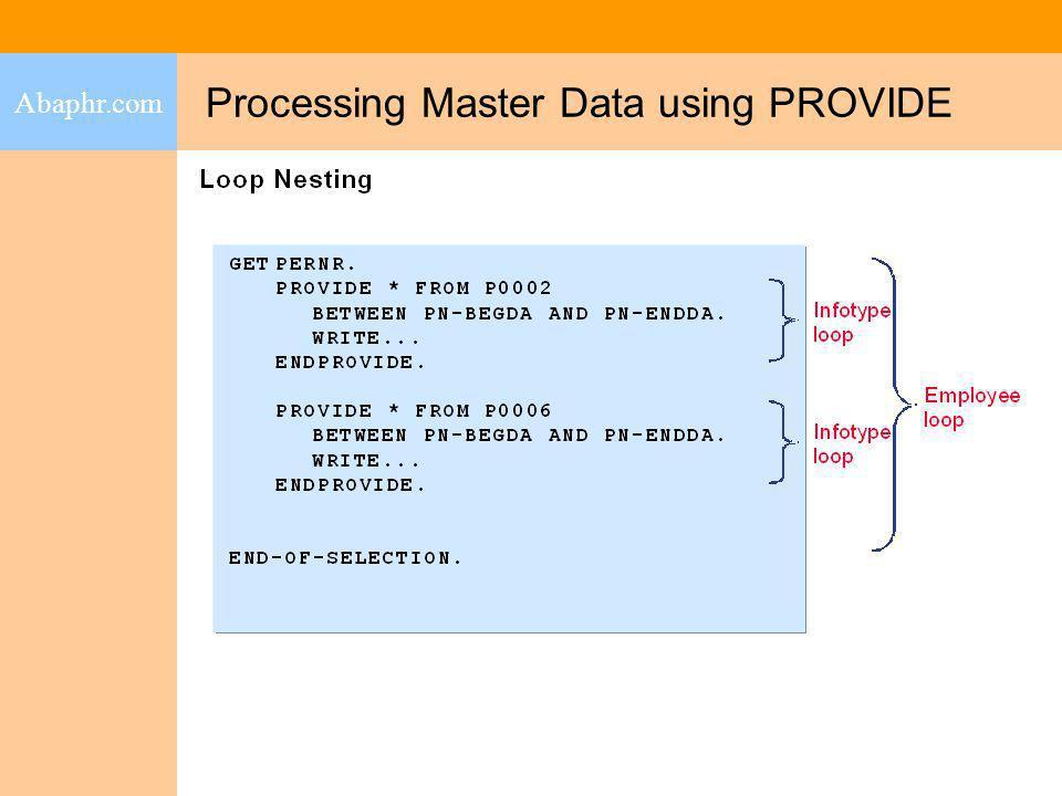 Processing Master Data using PROVIDE