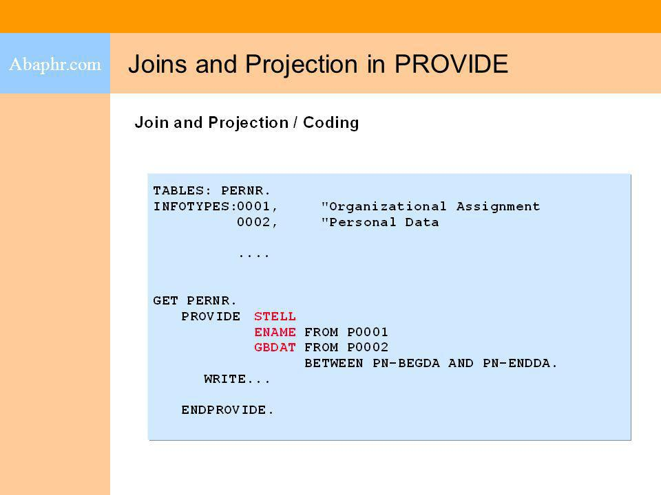 Joins and Projection in PROVIDE