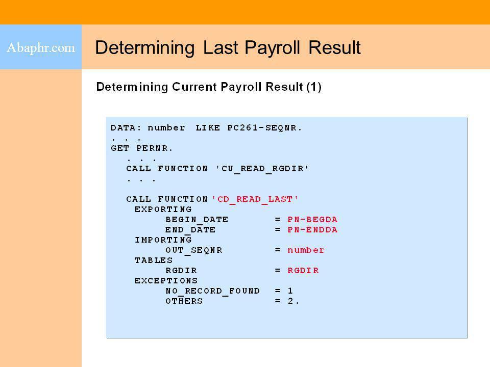 Determining Last Payroll Result