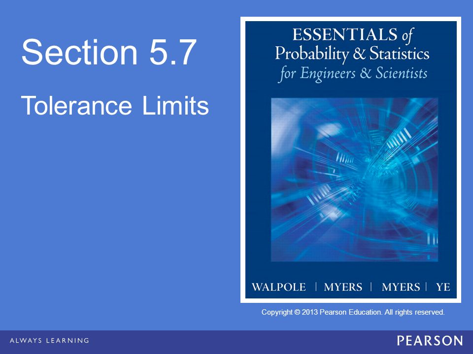 Section 5.7 Tolerance Limits