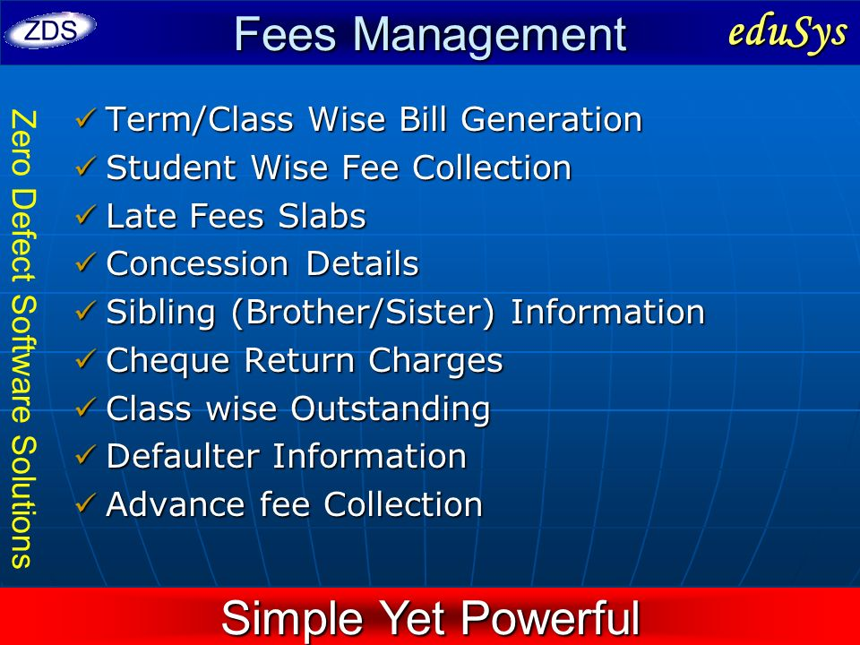 Fees Management eduSys Simple Yet Powerful