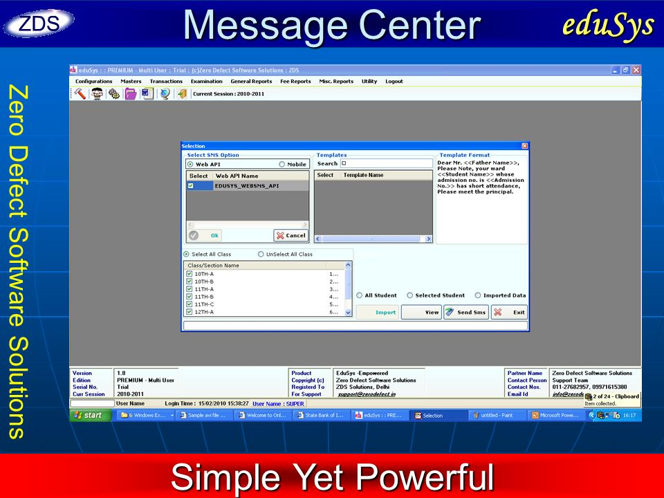 Message Center eduSys Simple Yet Powerful