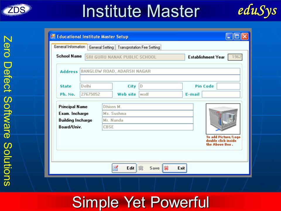 Institute Master eduSys Simple Yet Powerful