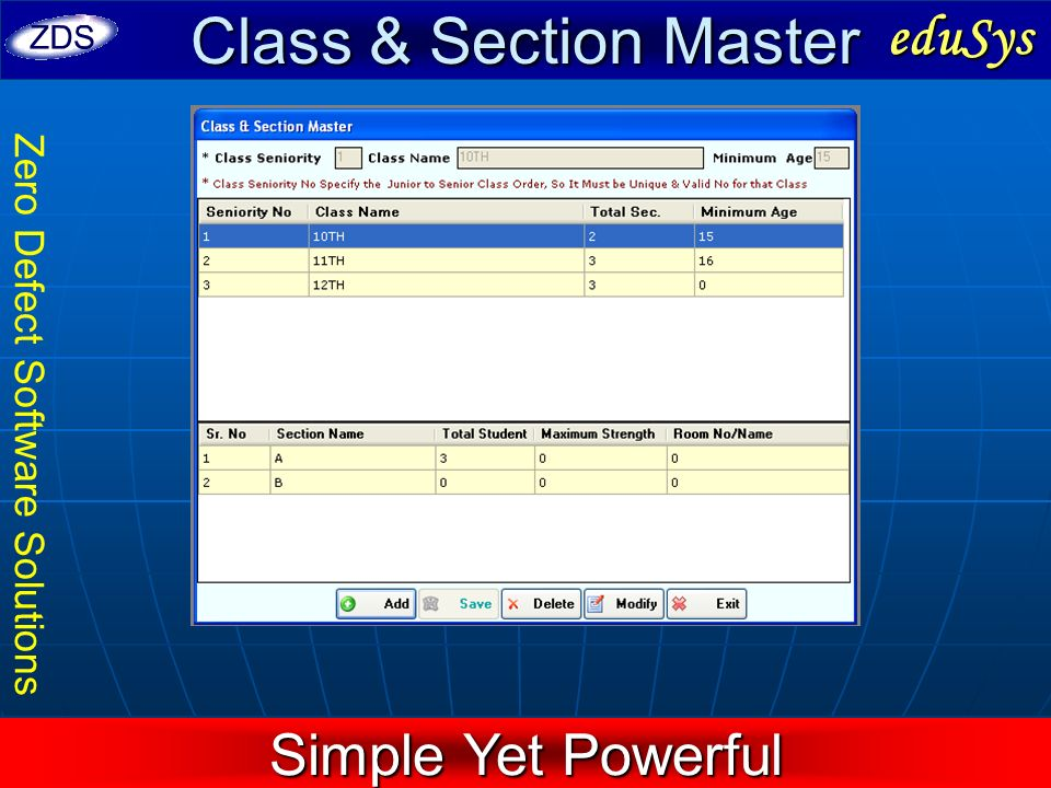 Class & Section Master eduSys Simple Yet Powerful