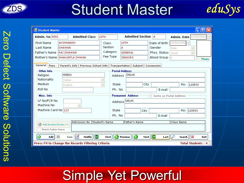 Student Master eduSys Simple Yet Powerful