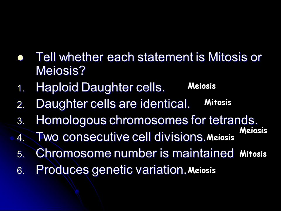 Tell whether each statement is Mitosis or Meiosis