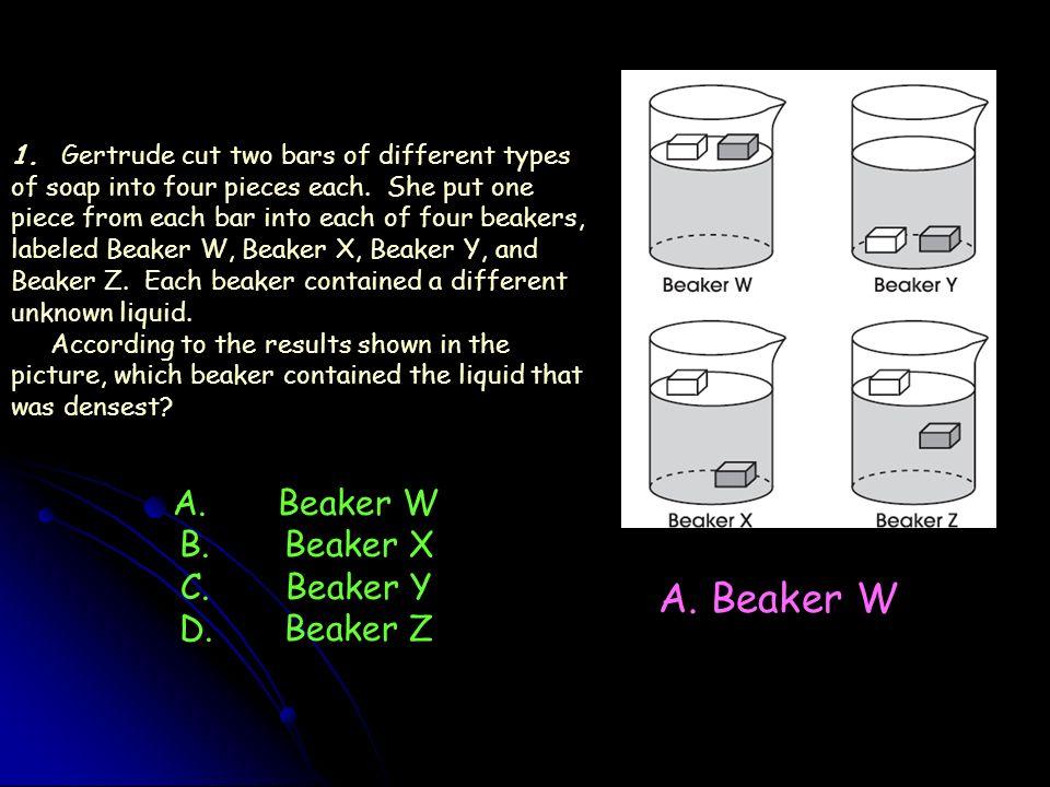 A. Beaker W A. Beaker W B. Beaker X C. Beaker Y D. Beaker Z