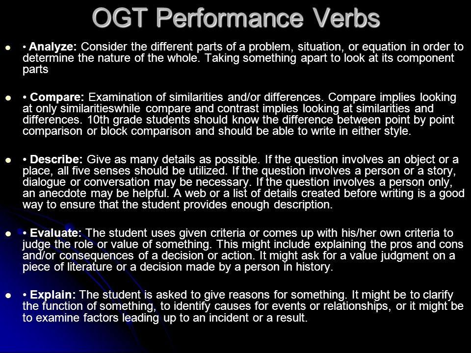OGT Performance Verbs