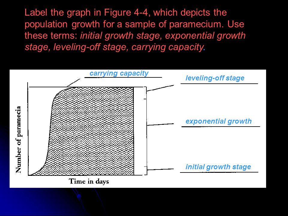 Label the graph in Figure 4-4, which depicts the population growth for a sample of paramecium. Use these terms: initial growth stage, exponential growth stage, leveling-off stage, carrying capacity.