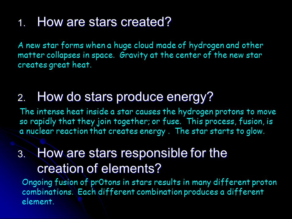 How do stars produce energy