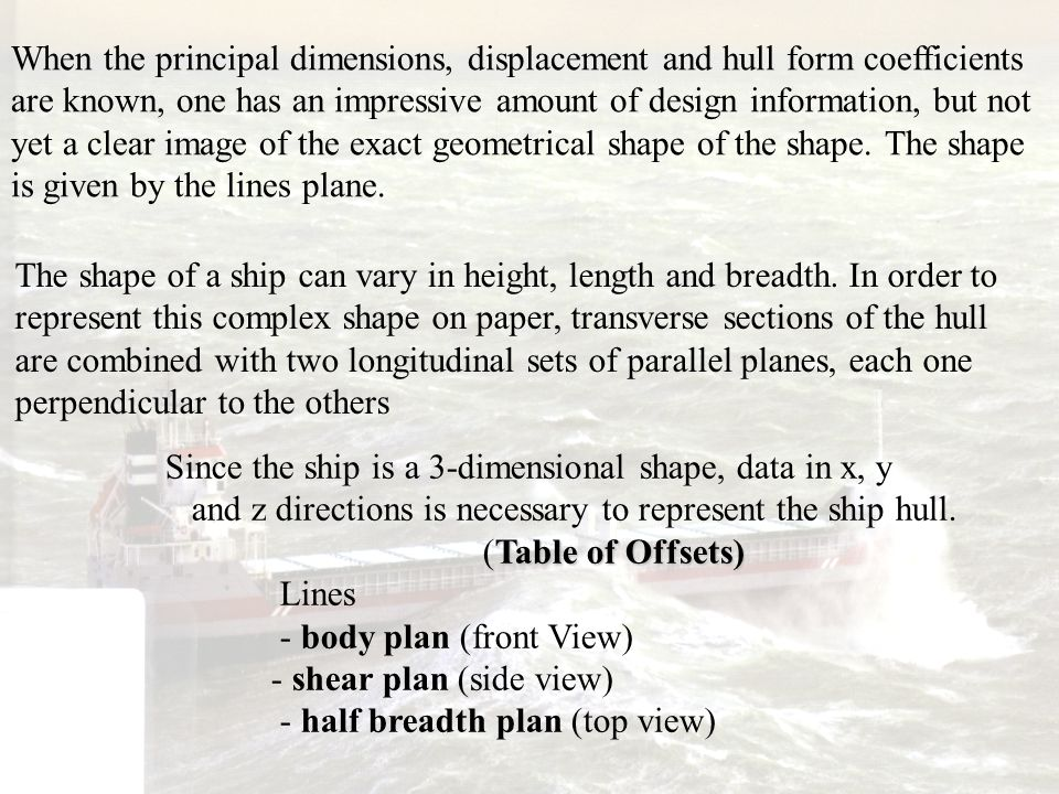 When the principal dimensions, displacement and hull form coefficients are known, one has an impressive amount of design information, but not yet a clear image of the exact geometrical shape of the shape. The shape is given by the lines plane.