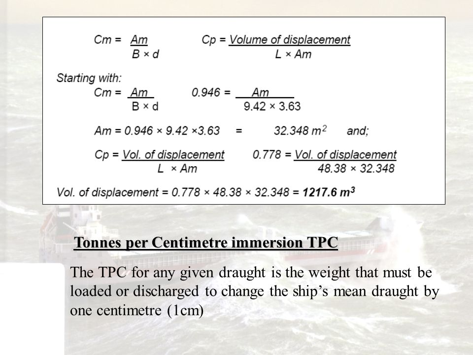 Tonnes per Centimetre immersion TPC