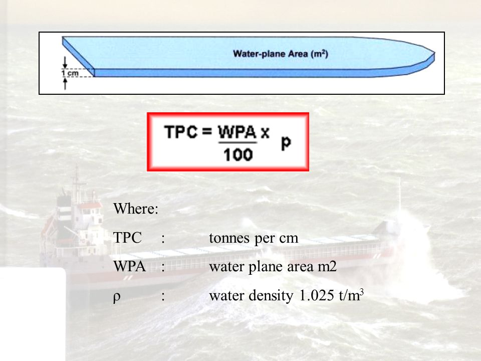 Where: TPC : tonnes per cm WPA : water plane area m2 ρ : water density 1.025 t/m3