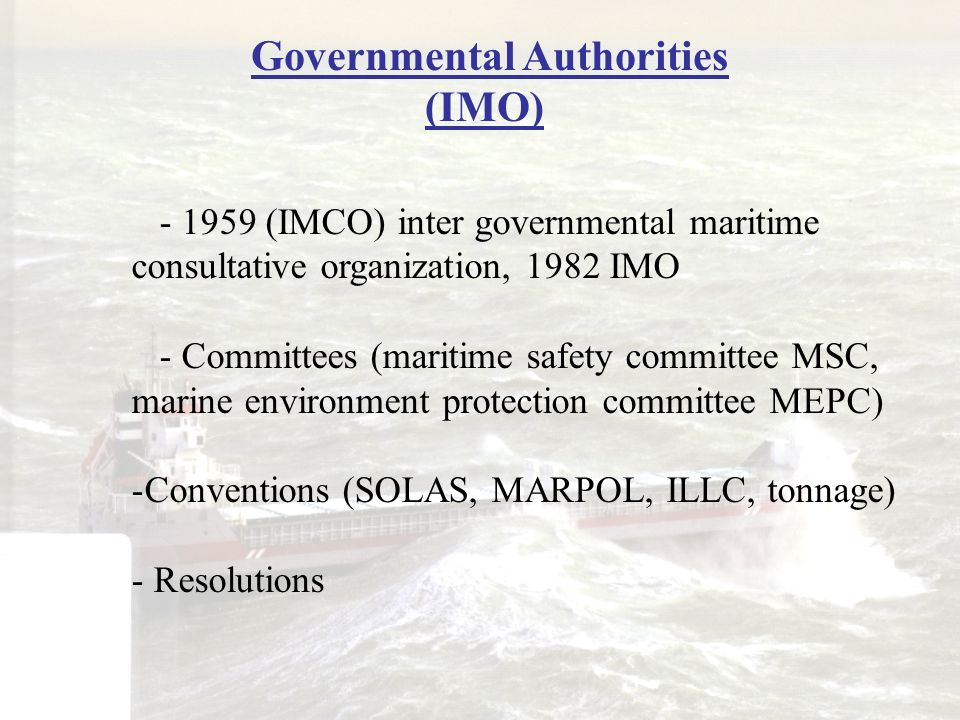 Governmental Authorities (IMO)