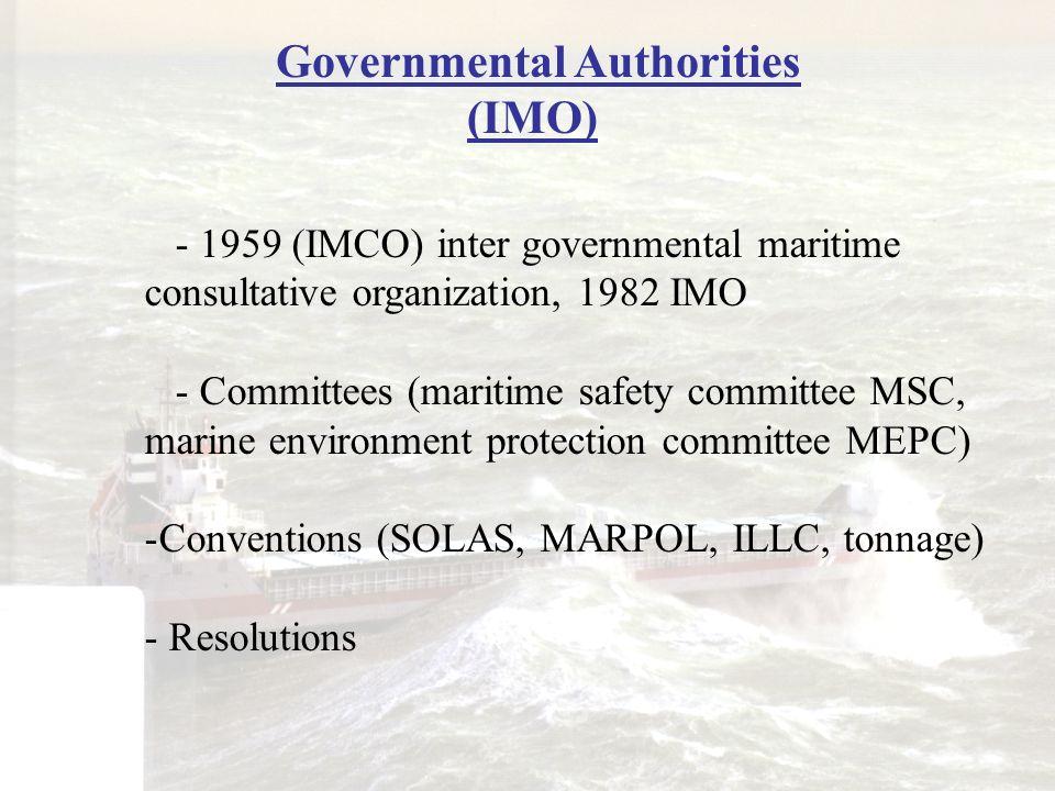 Governmental Authorities (IMO)