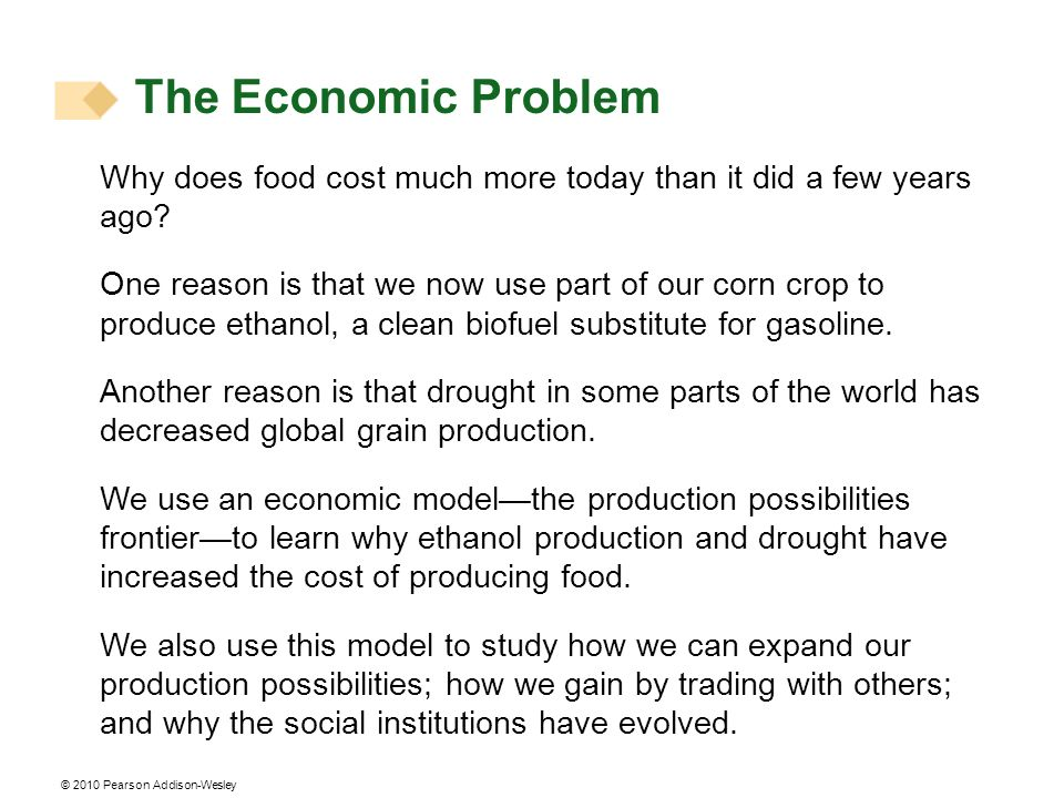 The Economic Problem Why does food cost much more today than it did a few years ago