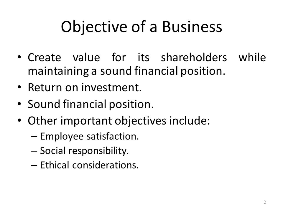 Objective of a Business
