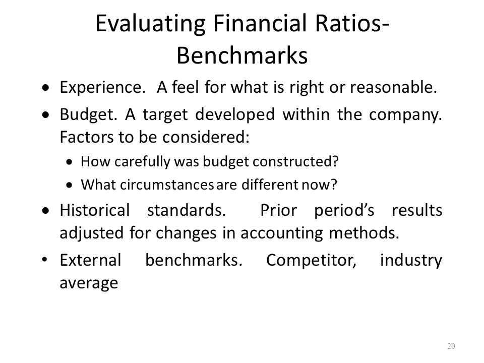 Evaluating Financial Ratios- Benchmarks