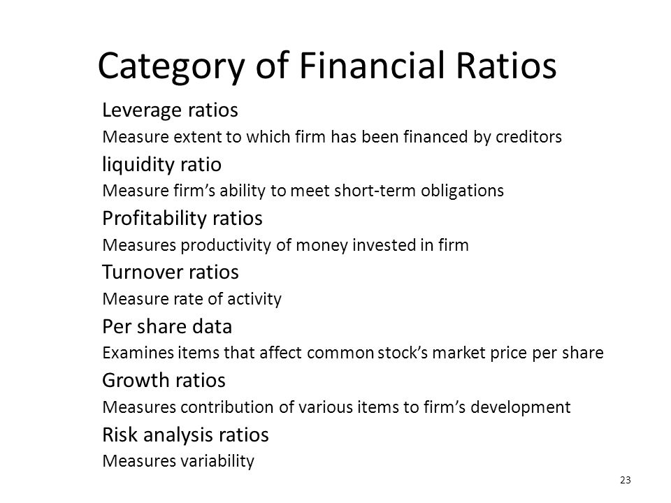 Category of Financial Ratios