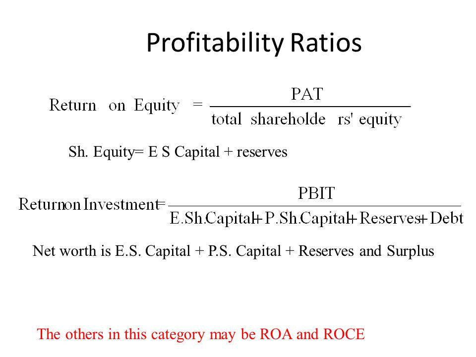 Profitability Ratios Sh. Equity= E S Capital + reserves