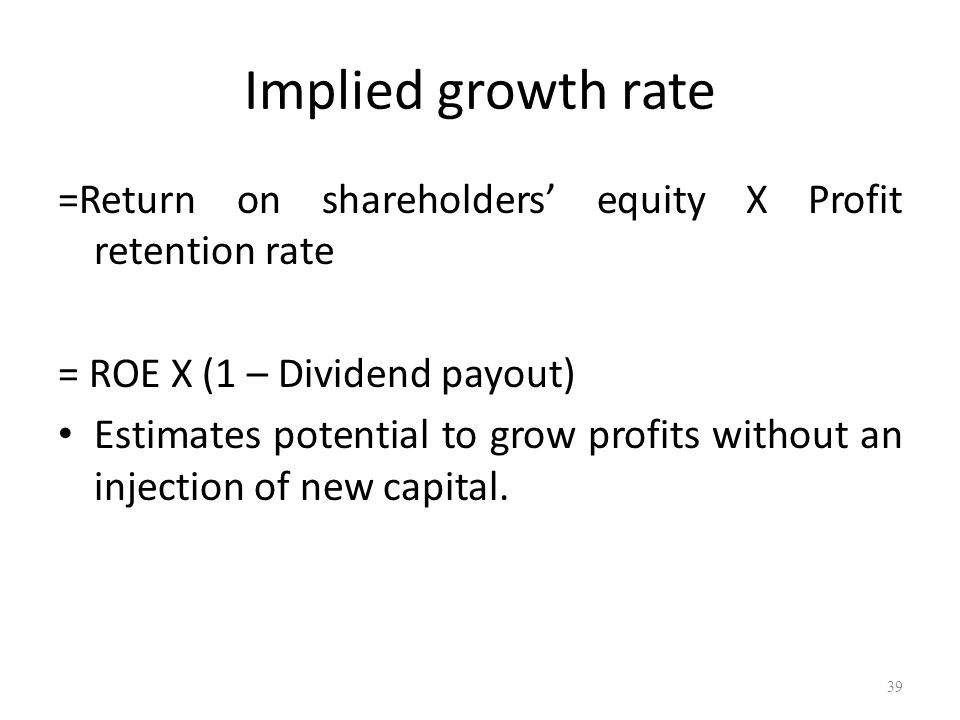 Implied growth rate =Return on shareholders' equity X Profit retention rate. = ROE X (1 – Dividend payout)