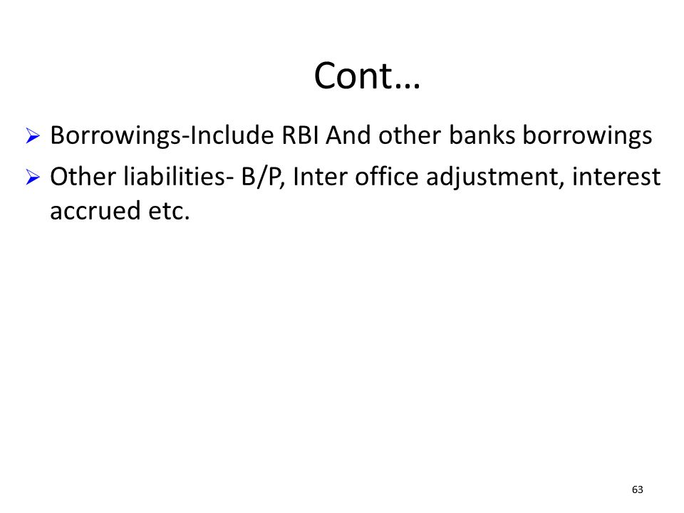 Cont… Borrowings-Include RBI And other banks borrowings