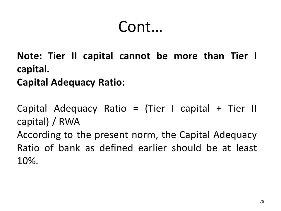 Cont… Note: Tier II capital cannot be more than Tier I capital.