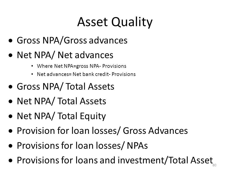 Asset Quality Gross NPA/Gross advances Net NPA/ Net advances