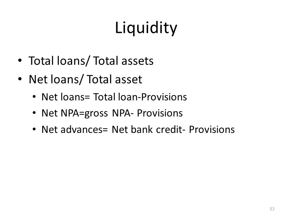 Liquidity Total loans/ Total assets Net loans/ Total asset