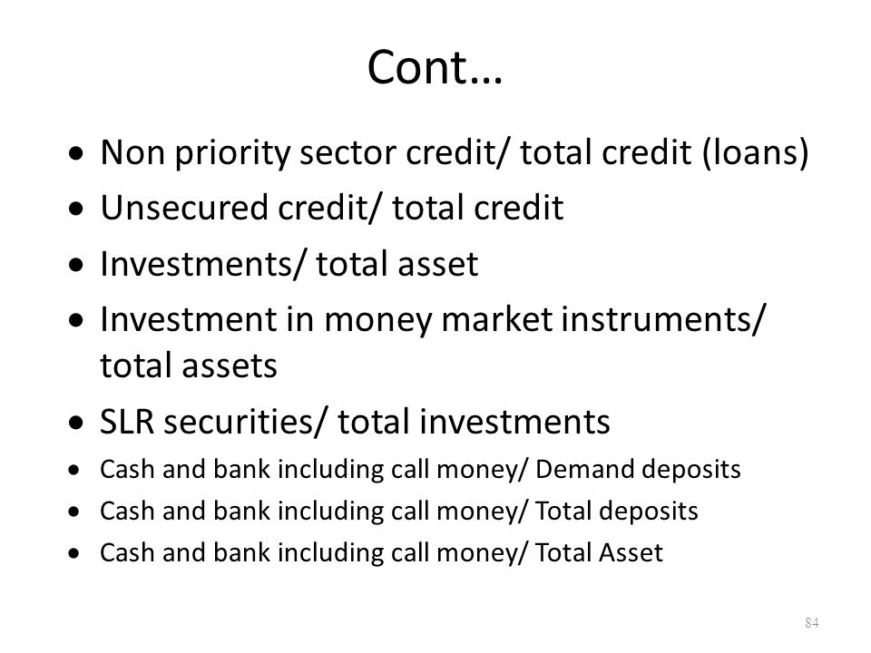 Cont… Non priority sector credit/ total credit (loans)
