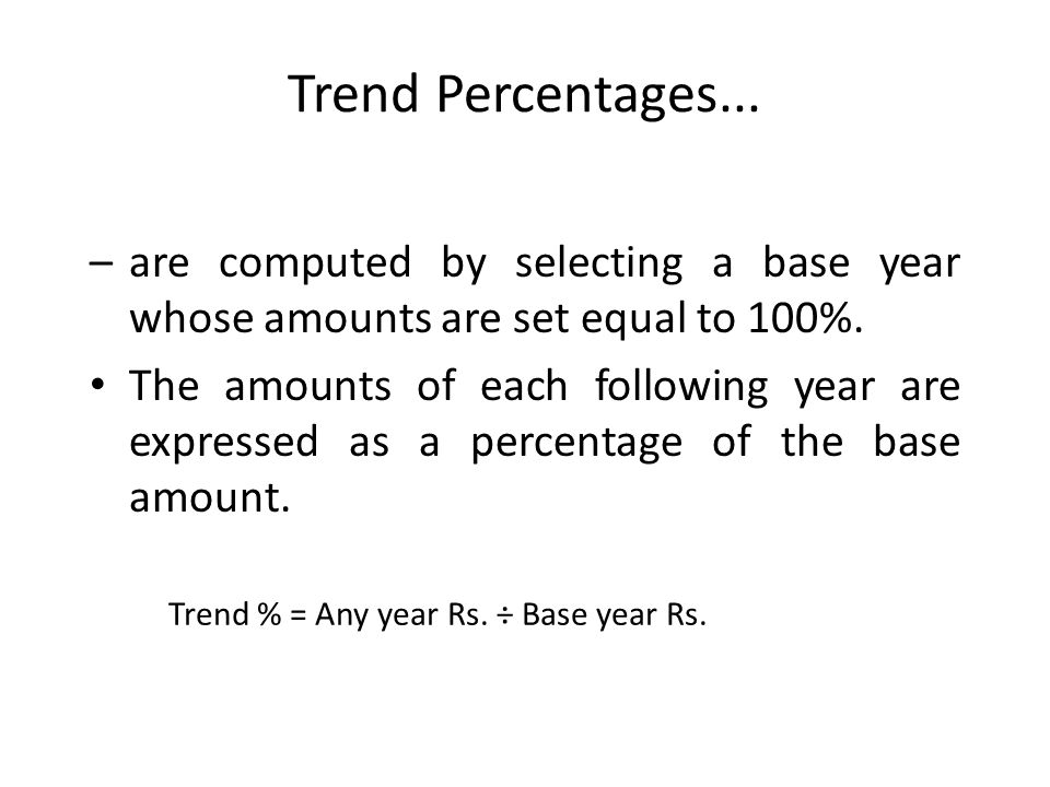 Trend Percentages... are computed by selecting a base year whose amounts are set equal to 100%.