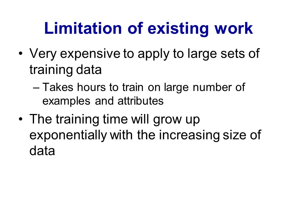 Limitation of existing work