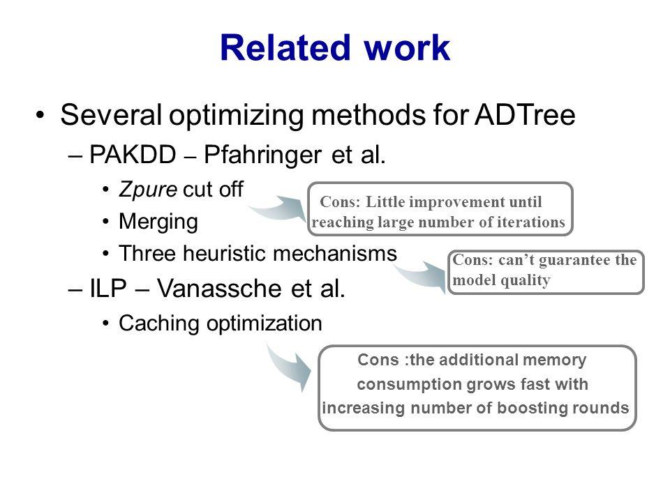 Related work Several optimizing methods for ADTree