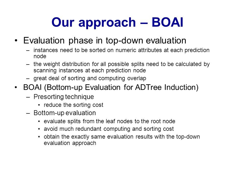 Our approach – BOAI Evaluation phase in top-down evaluation