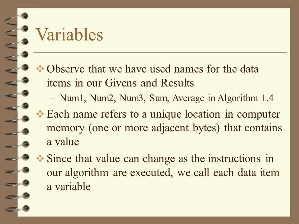 Variables Observe that we have used names for the data items in our Givens and Results. Num1, Num2, Num3, Sum, Average in Algorithm 1.4.