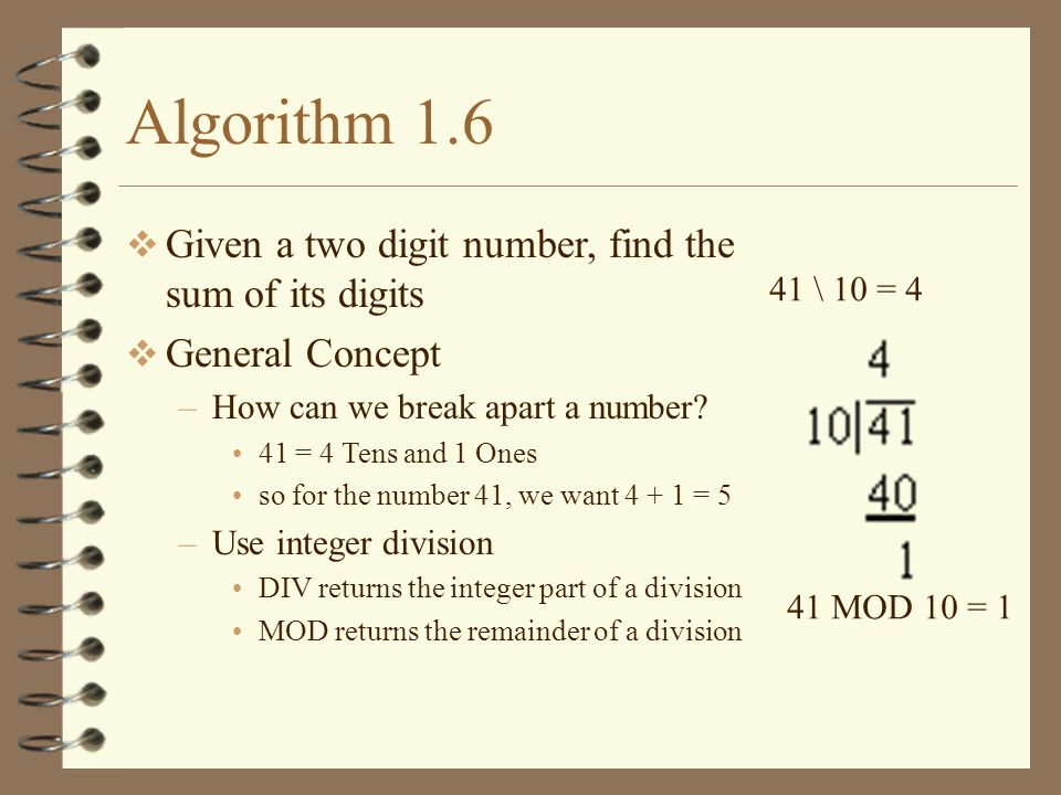 Algorithm 1.6 Given a two digit number, find the sum of its digits