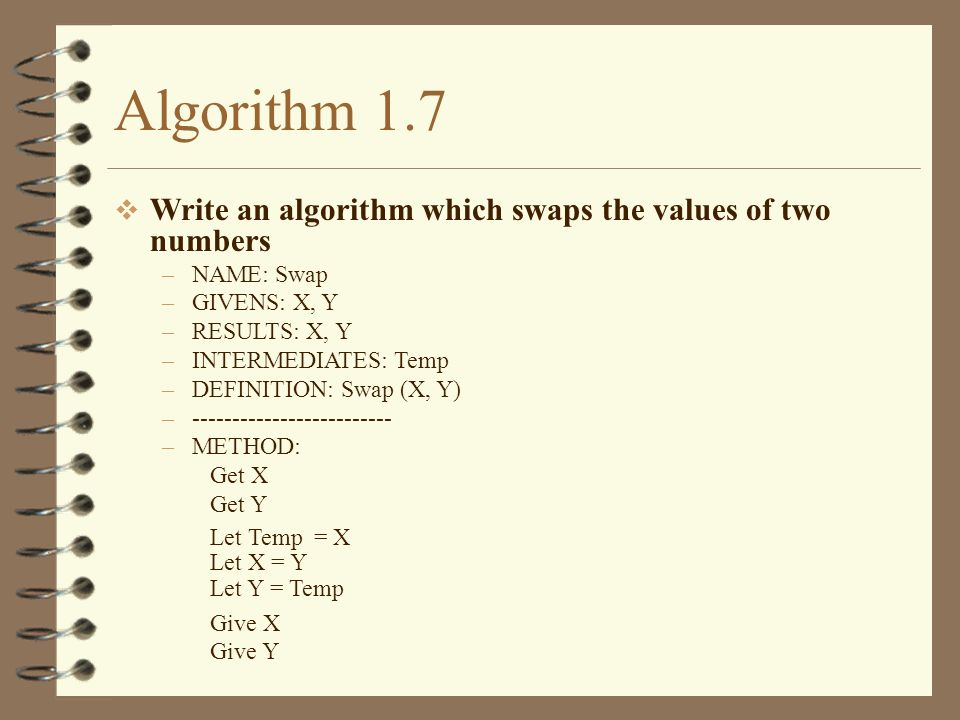Algorithm 1.7 Write an algorithm which swaps the values of two numbers