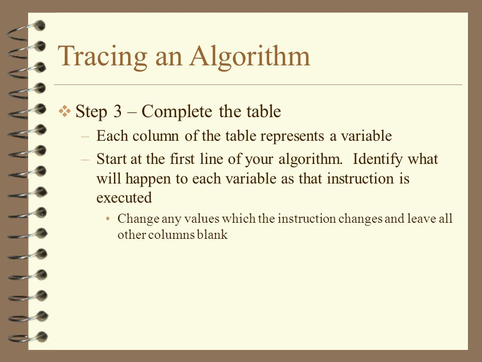Tracing an Algorithm Step 3 – Complete the table