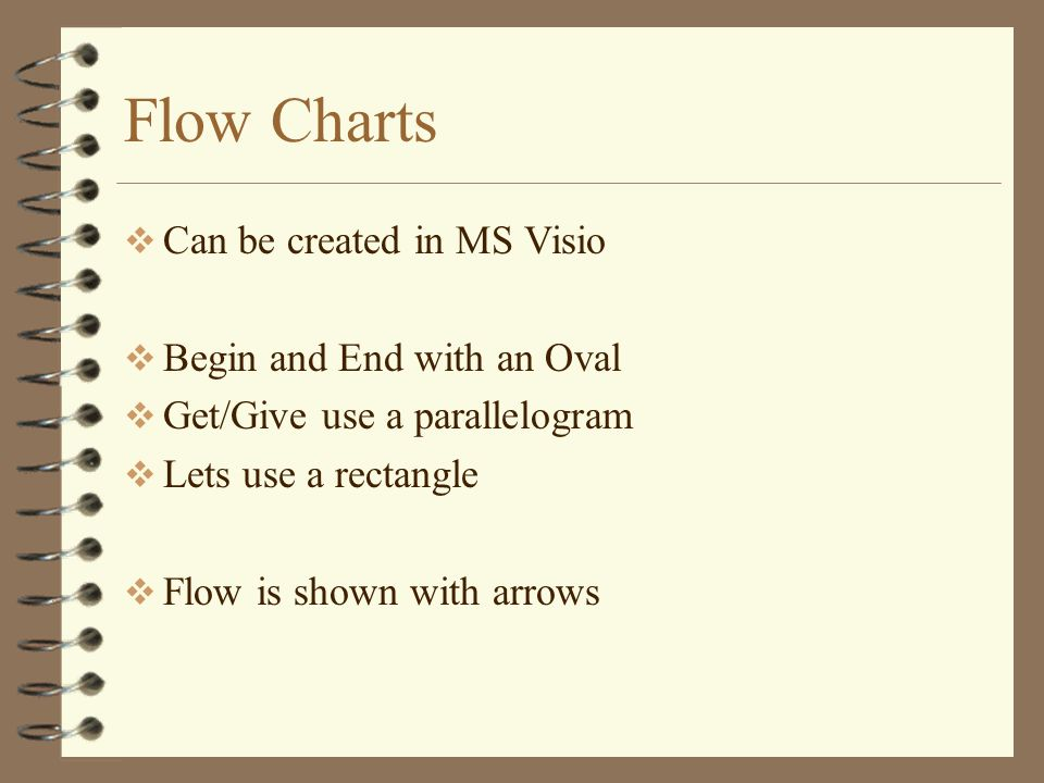 Flow Charts Can be created in MS Visio Begin and End with an Oval