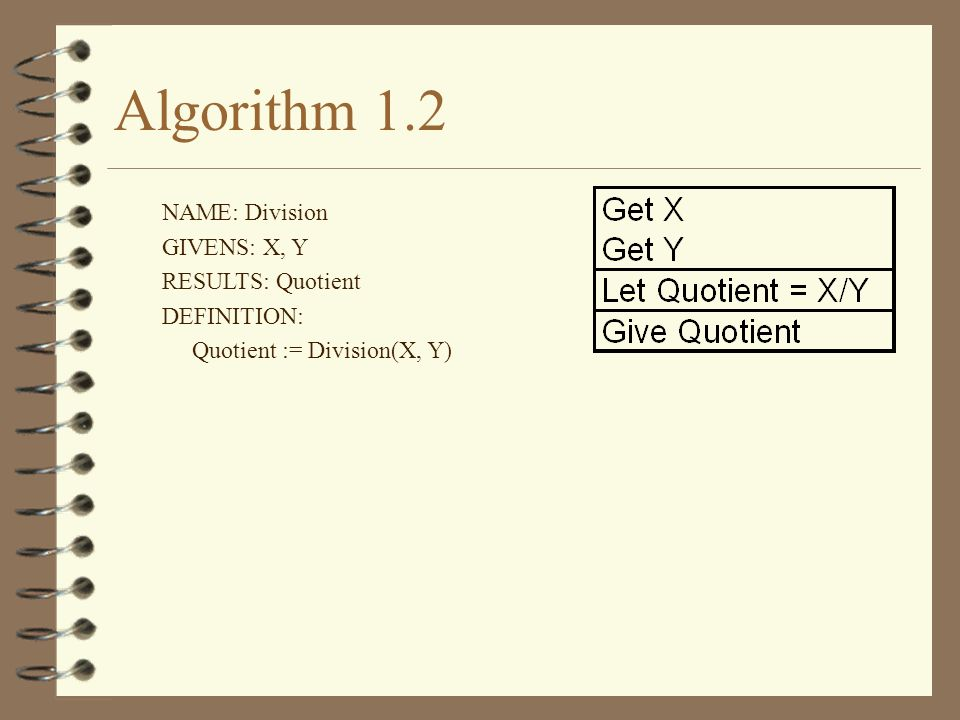 Algorithm 1.2 NAME: Division GIVENS: X, Y RESULTS: Quotient