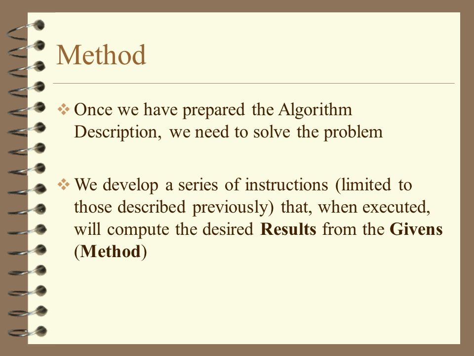Method Once we have prepared the Algorithm Description, we need to solve the problem.