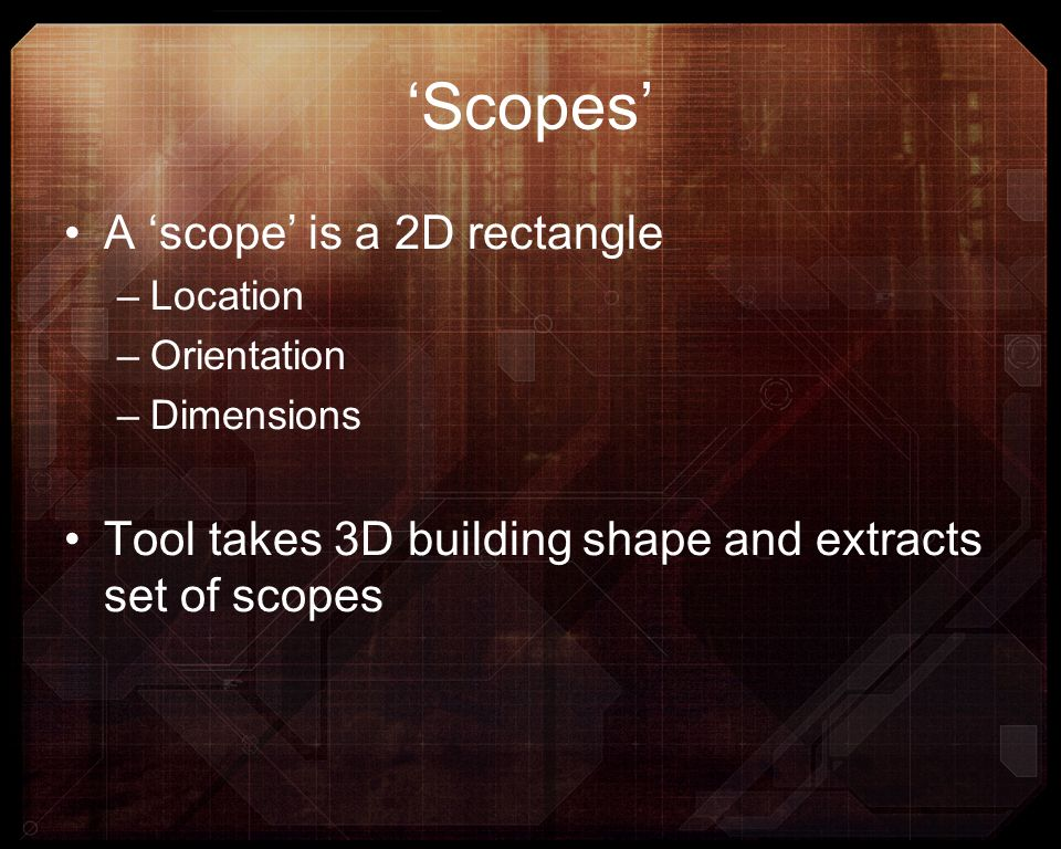 'Scopes' A 'scope' is a 2D rectangle
