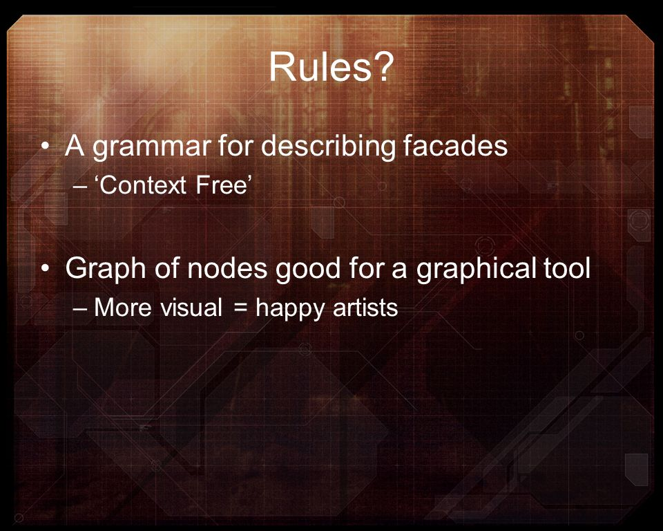 Rules A grammar for describing facades