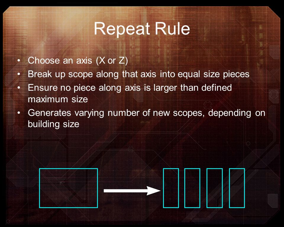 Repeat Rule Choose an axis (X or Z)